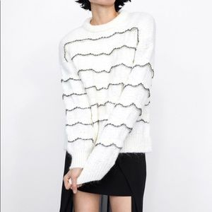 ZARA Ruffle Knit Sweater Mohair Blend NWT